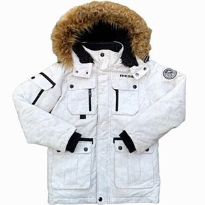 Diesel Faux Fur White Camo Snow Jacket with Hood
